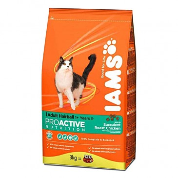 Iams ProActive Nutrition Hairball with Succulent Roast Chicken, 1,5 kg