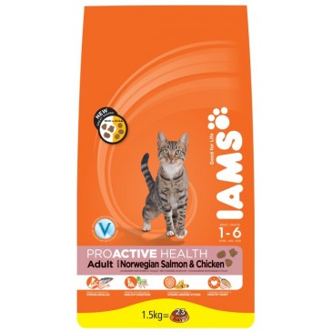 Iams ProActive Nutrition with Norwegian Salmon and Chicken, 1,5 kg
