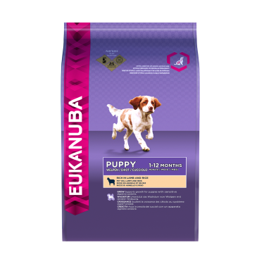 Eukanuba Puppy and Junior All Breeds Rich in Lamb and Rice koeratoit, 2,5 kg