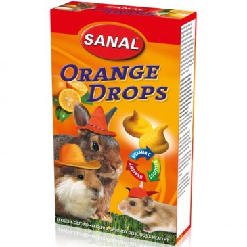Orange Drops Sanal, для грызунов, со вкусом апельсина, 45г.