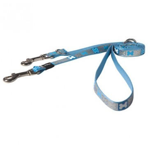 Поводок для двух собак Reflecto Small голубой 180cm/12mm