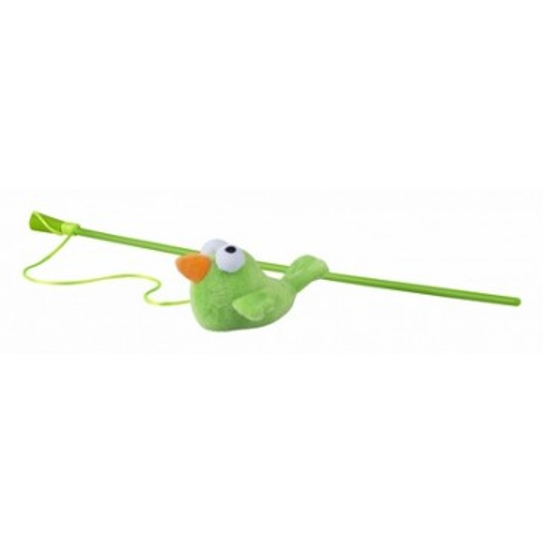 Rogz Игрушка-дразнилка для кошек плюшевая птичка с кошачьей мятой, лайм